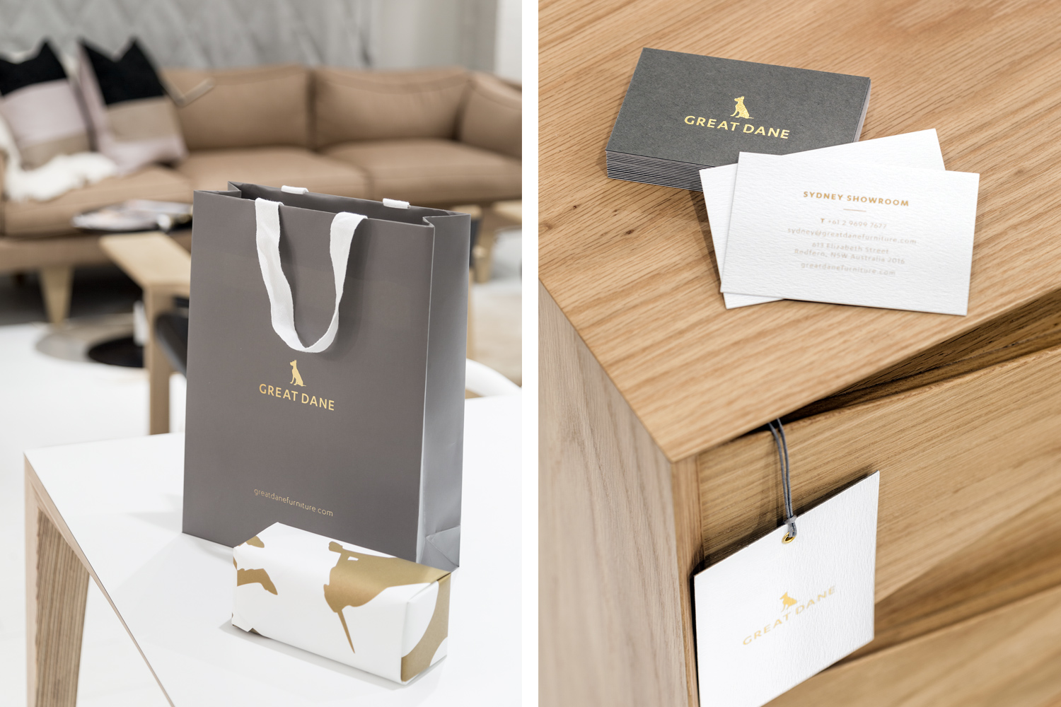 Great Dane furniture branded retail bags, wrapping paper and business cards