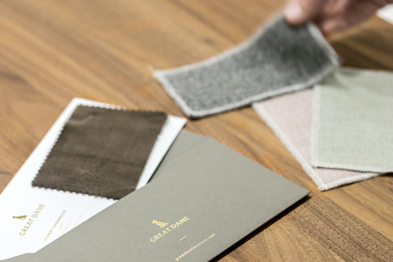 Great Dane furniture premium sample envelope and compliment slip