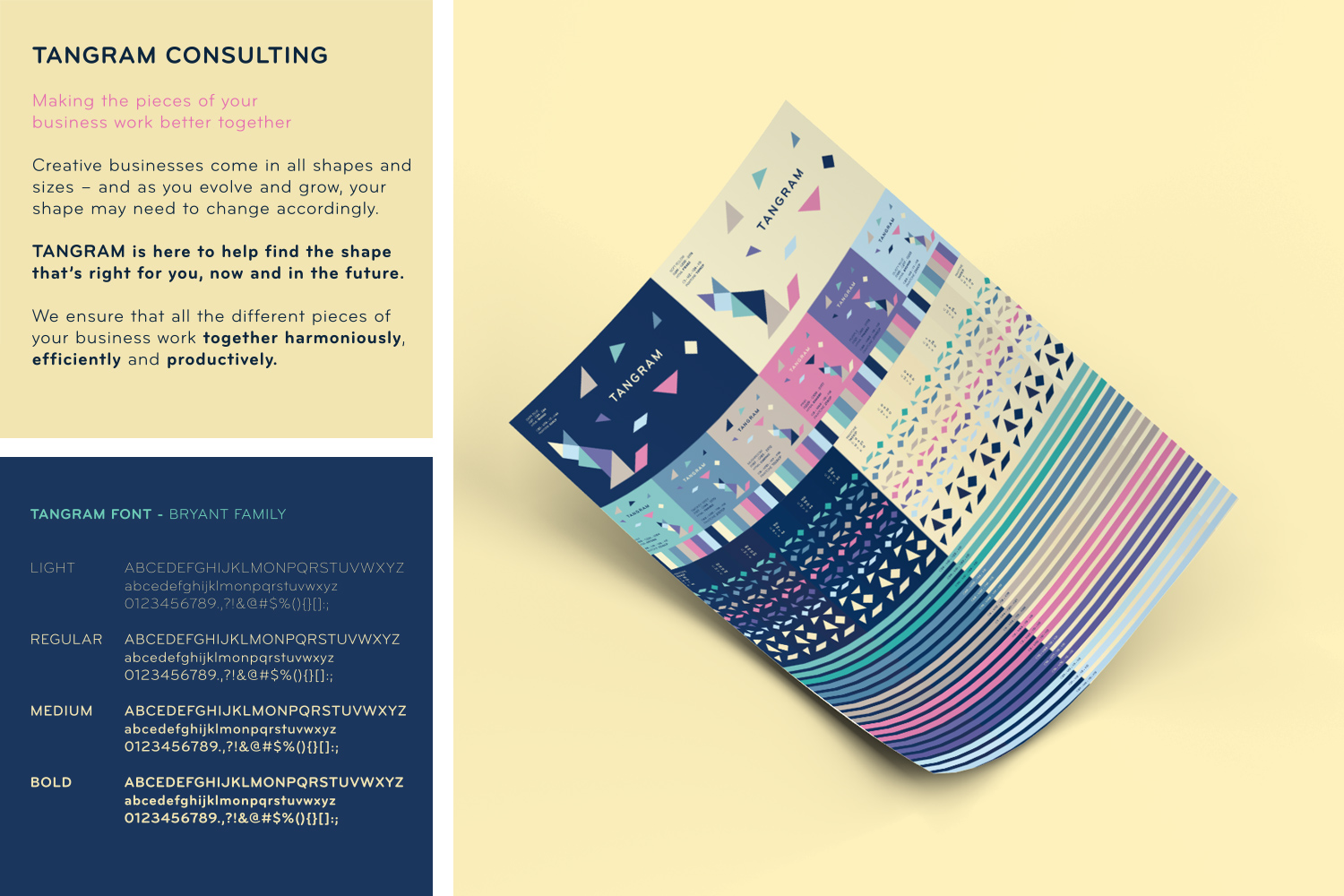Tangram Consulting Brand Assets and Colour Print Test Poster