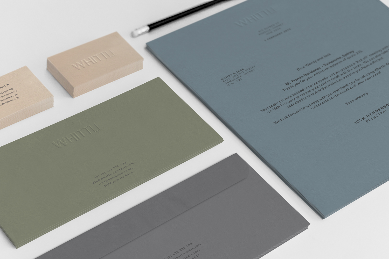 Whittle Architects Brand Identity Stationery Suite