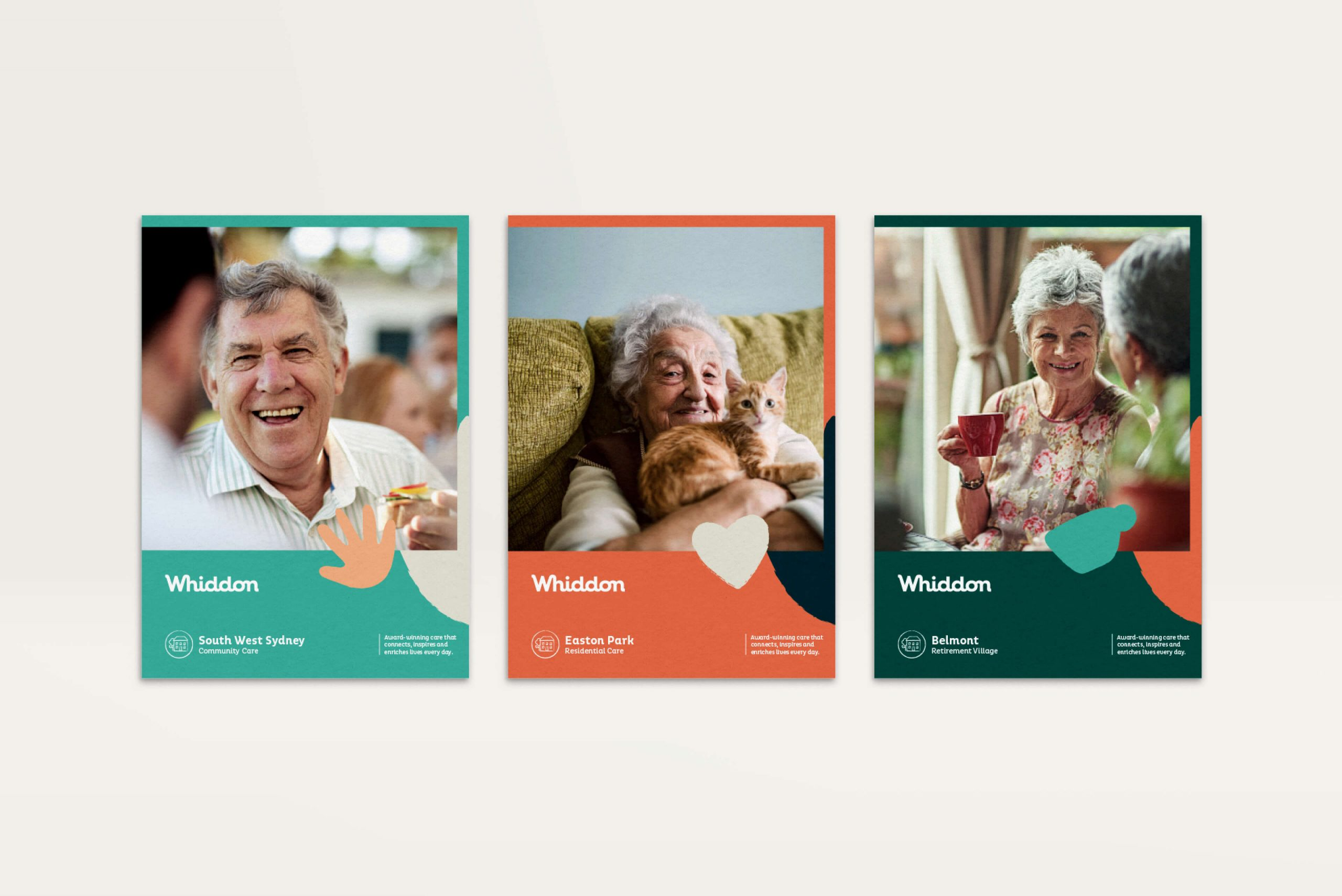 Whiddon Brand Refresh - Welcome brochure covers for Community Care, Residential Care and Retirement Village