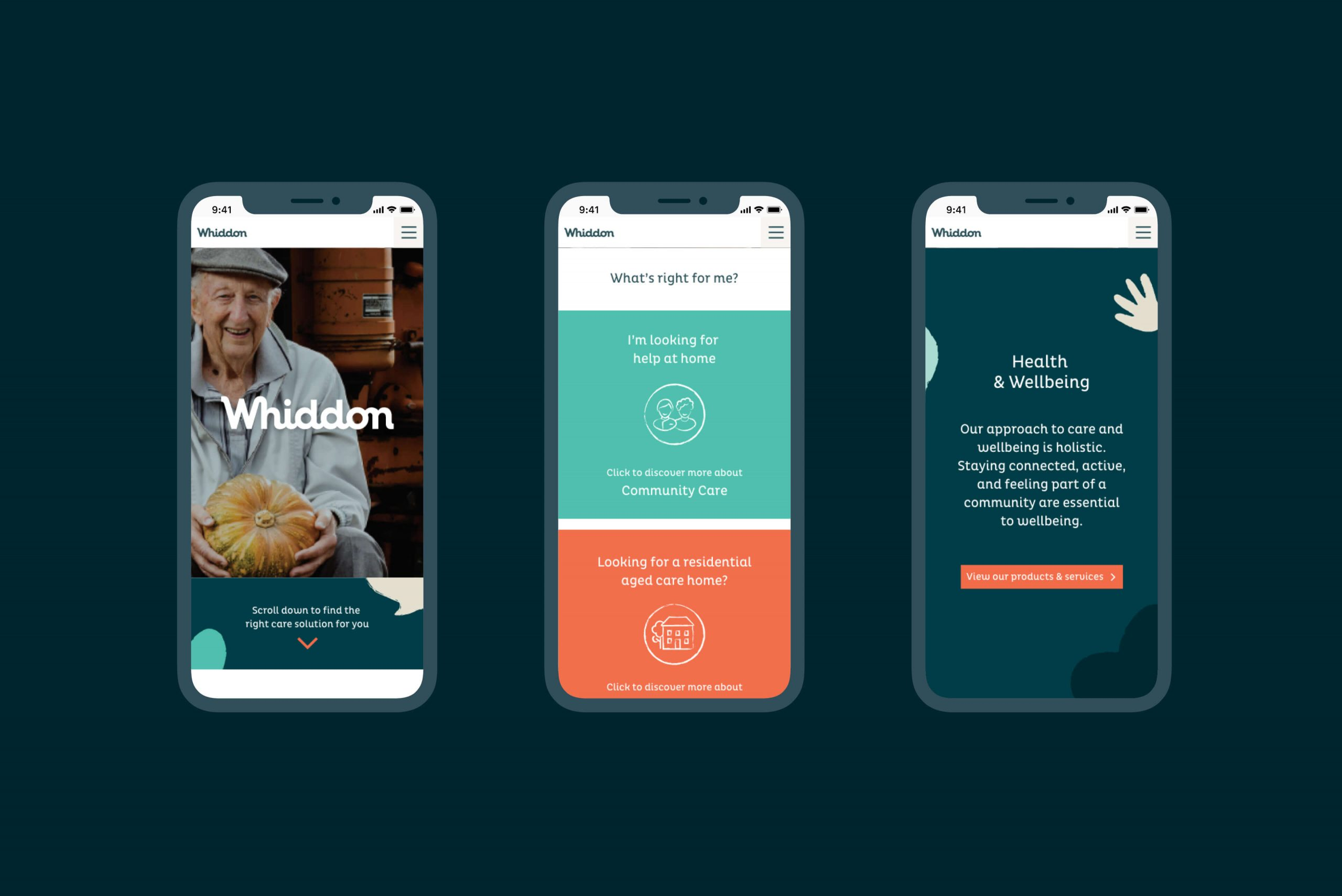 Whiddon Brand Refresh - Digital homepage design intent for smartphone