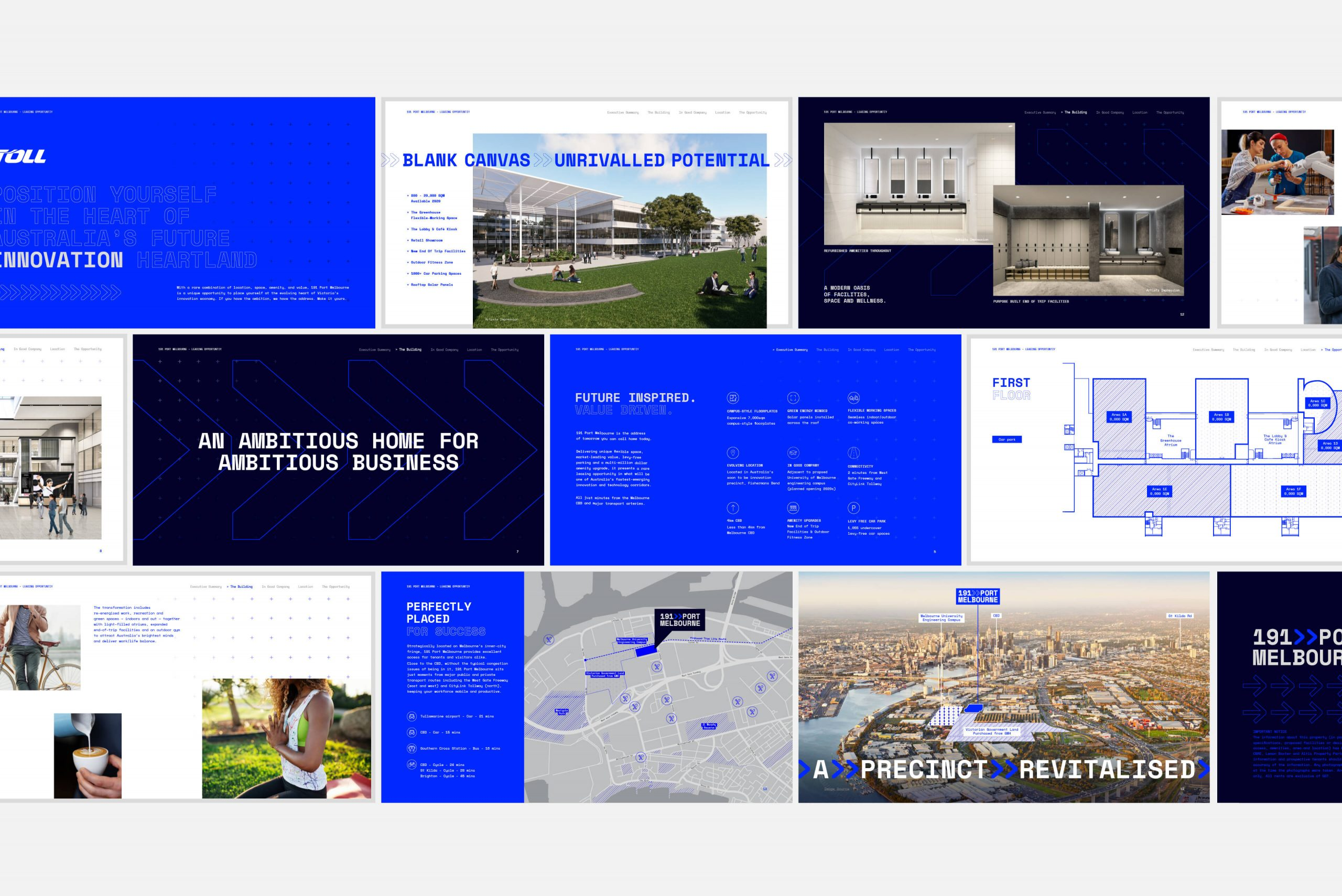191 Port Melbourne - Property Brand Identity - Digital IM Brochure Design Key Spreads Overview