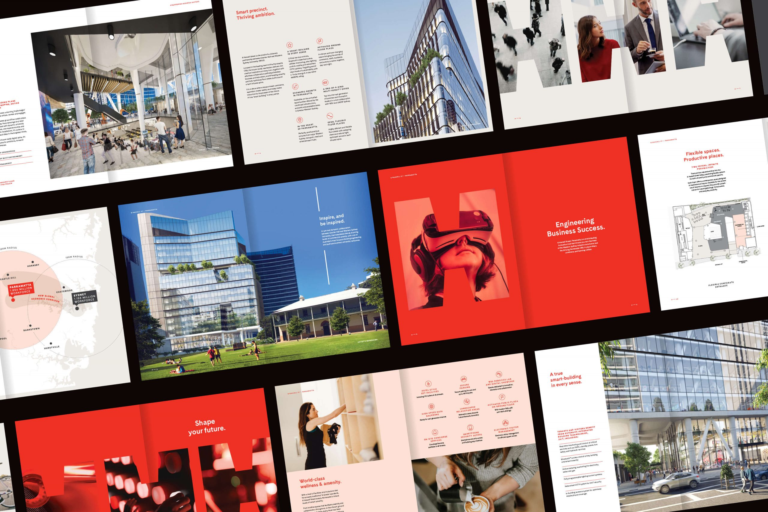 6 Hassall St Property Brand for Charter Hall - Brochure Spread Overview