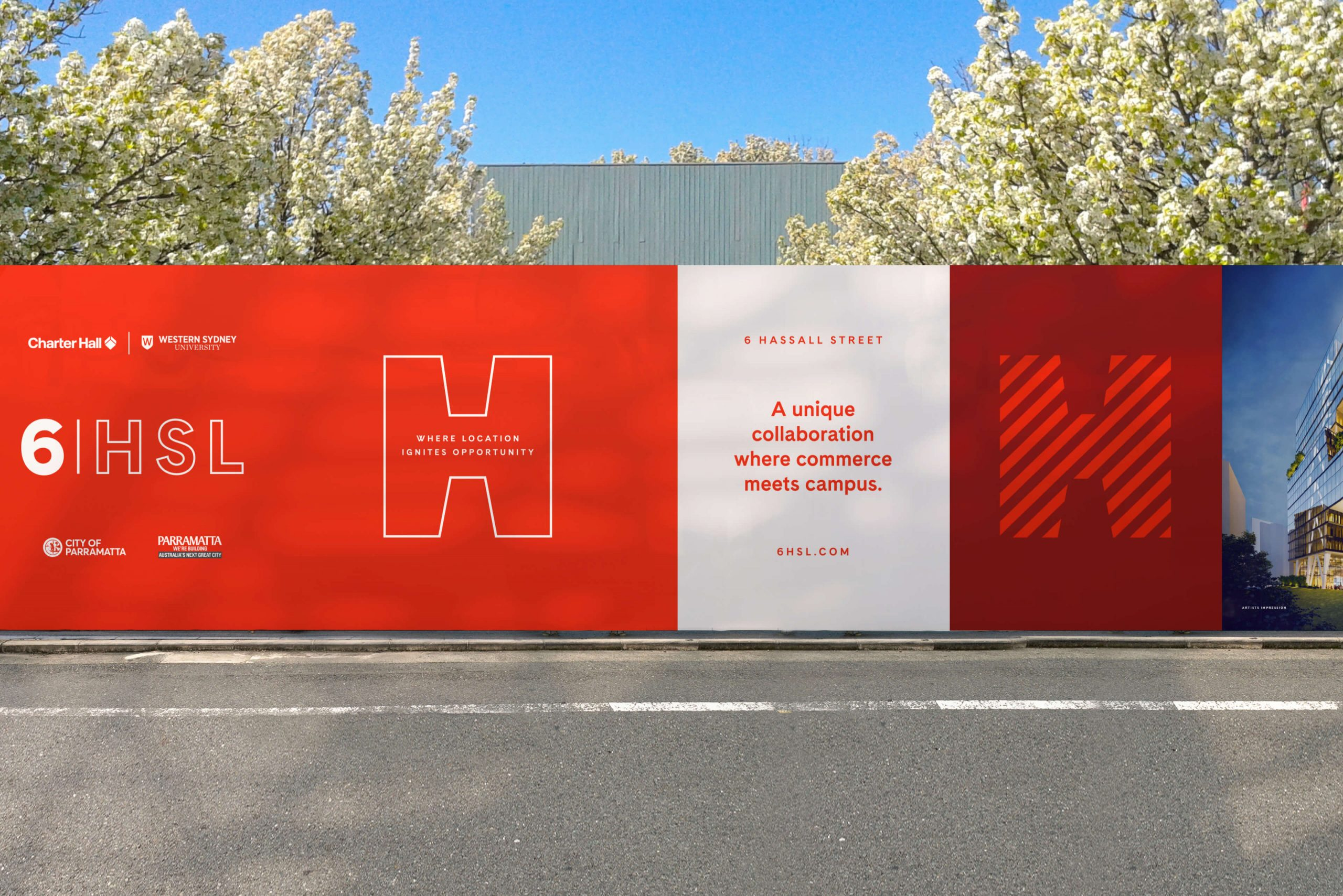 6 Hassall St Property Brand for Charter Hall - Hoarding Design & Communication