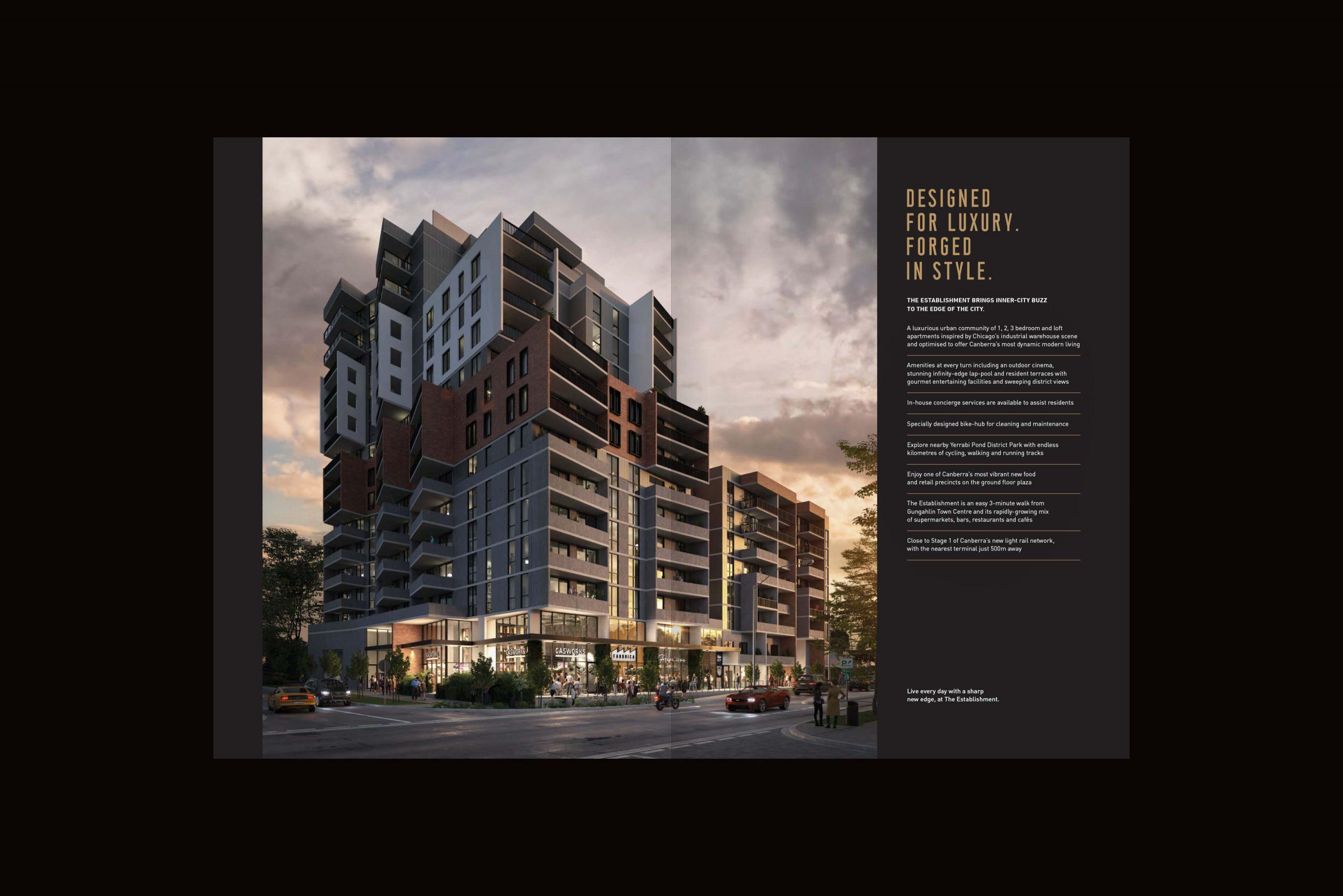 Geocon - The Establishment - Property Identity & Campaign - Hero Building Render & Key Facts Brochure Spread