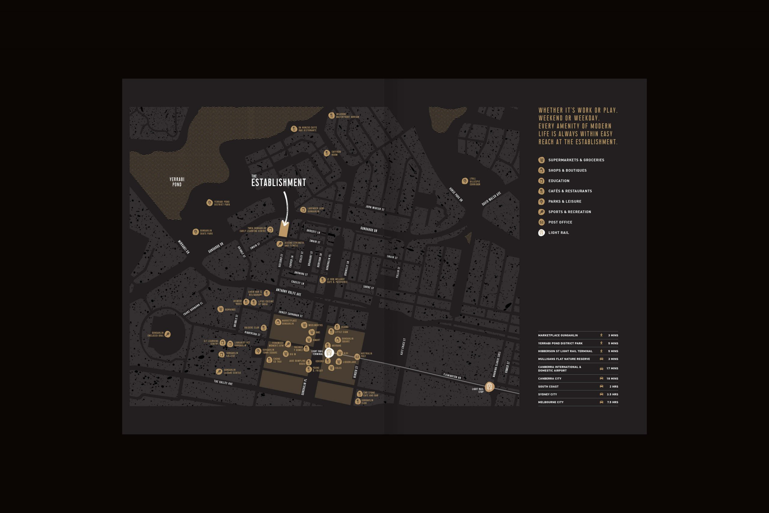 Geocon - The Establishment - Property Identity & Campaign - Local Area Map Brochure Spread