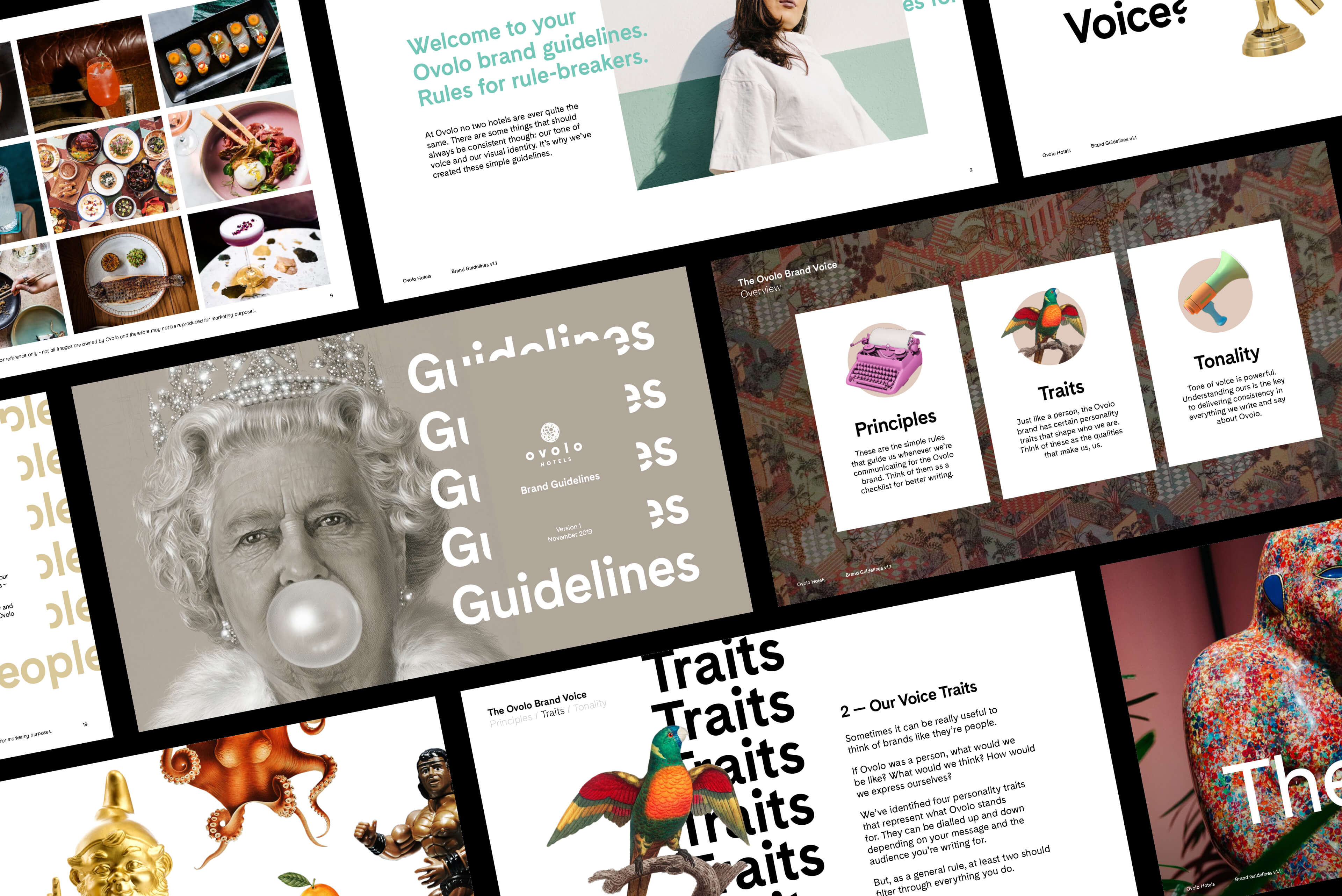 Ovolo Hotels Brand Refresh - Wonder. Full. Brand Guidelines Collection of Spreads