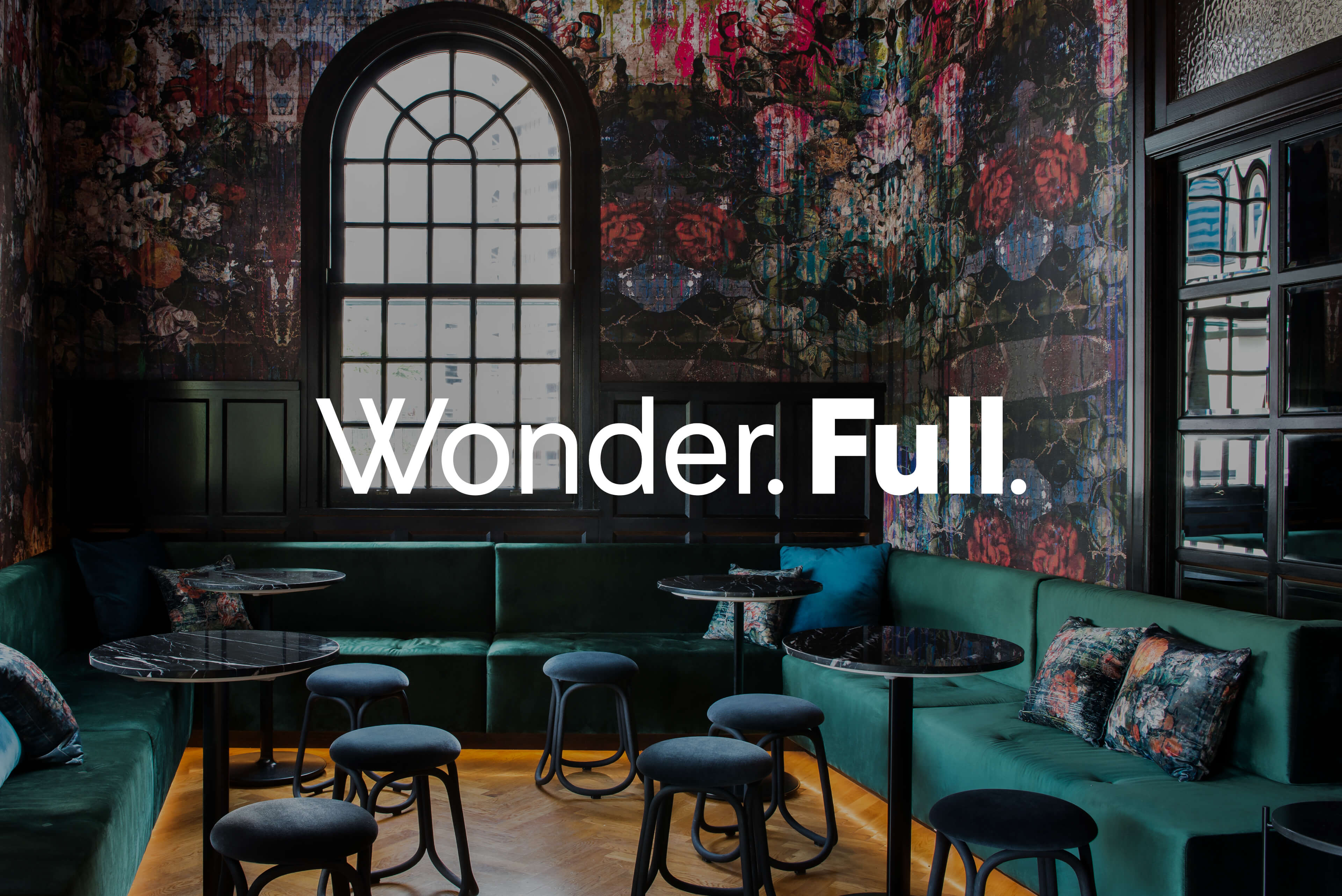 Ovolo Hotels Brand Refresh - Wonder. Full. Logotype with Hotel Interior Photography