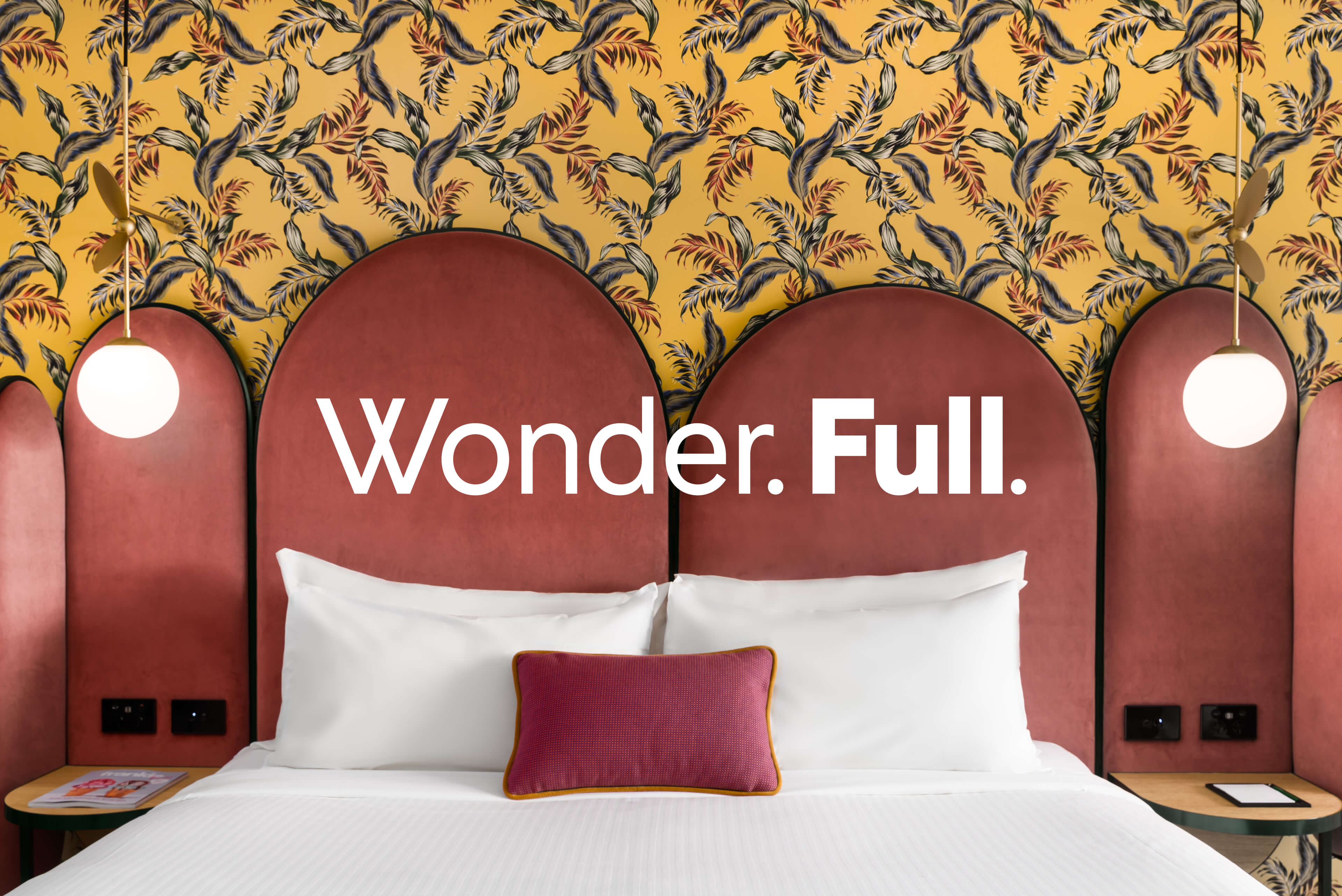 Ovolo Hotels Brand Refresh - Wonder. Full. Logotype with Hotel Room Photography
