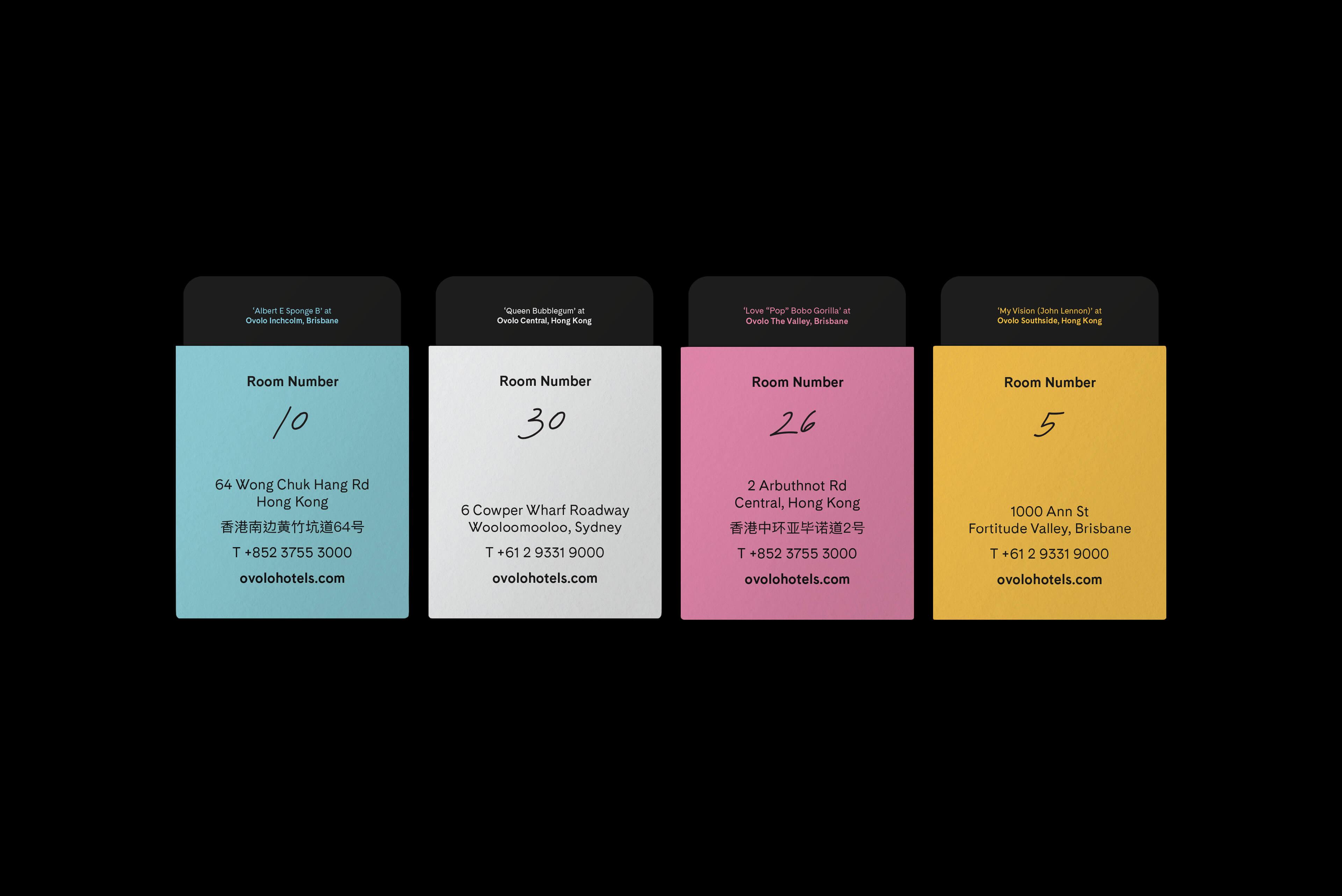 Ovolo Hotels Brand Refresh - Wonder. Full. Hotel Door Cards & holder reverse