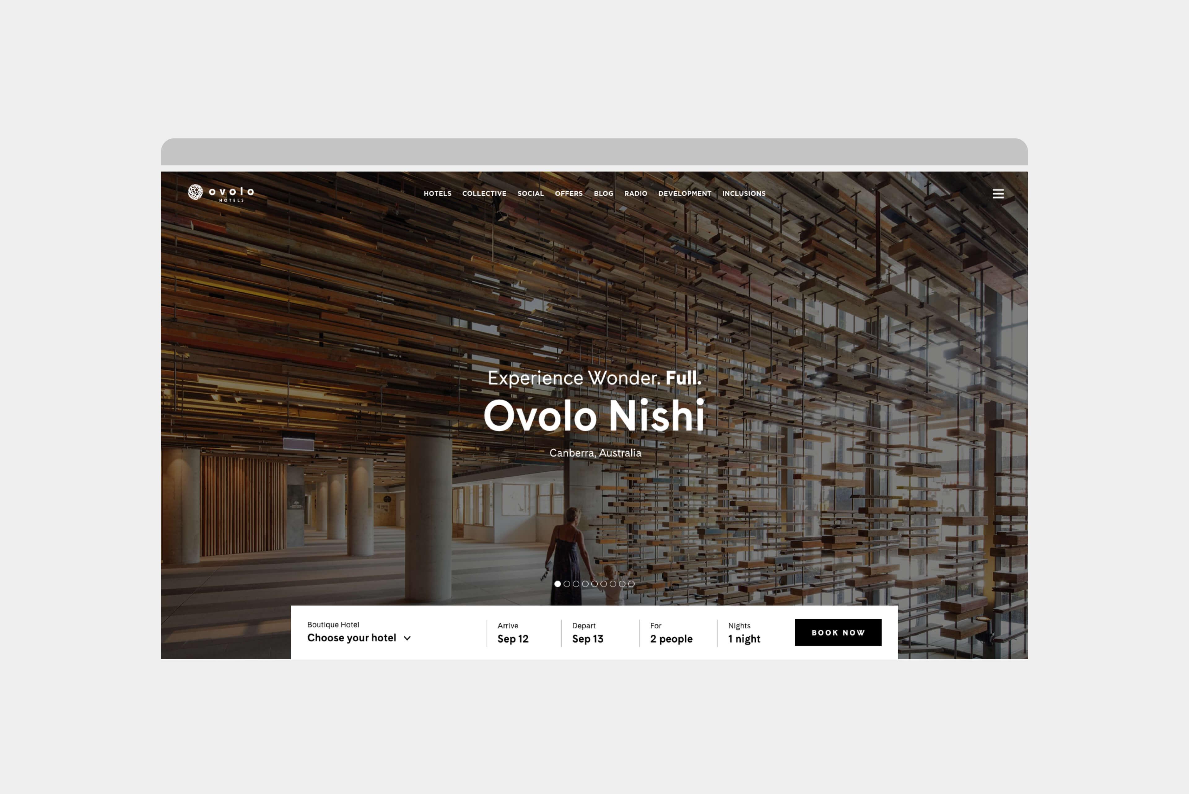 Ovolo Hotels Brand Refresh - Wonder. Full. Digital Design Intent Homapage Carousel 1