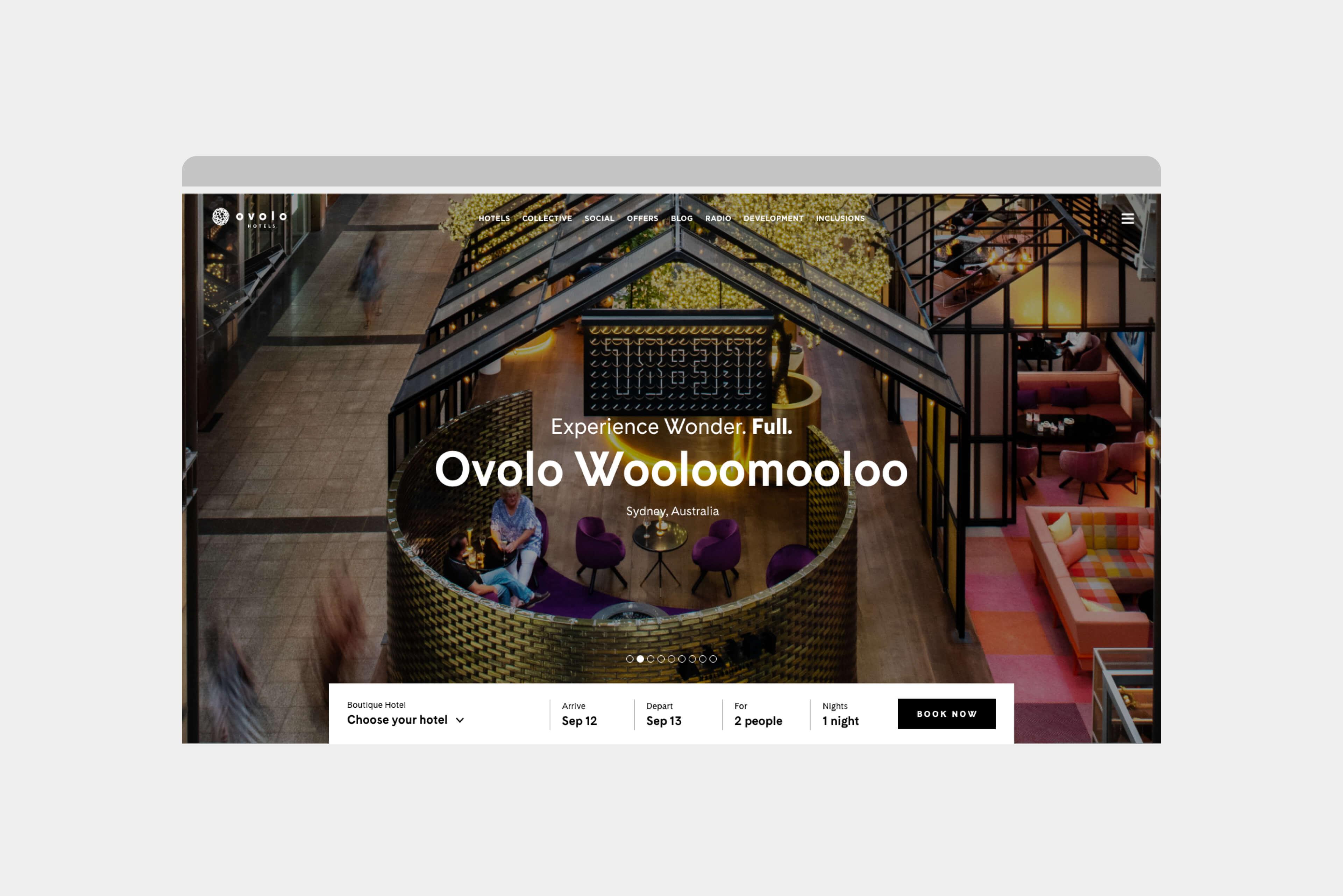 Ovolo Hotels Brand Refresh - Wonder. Full. Digital Design Intent Homapage Carousel 2