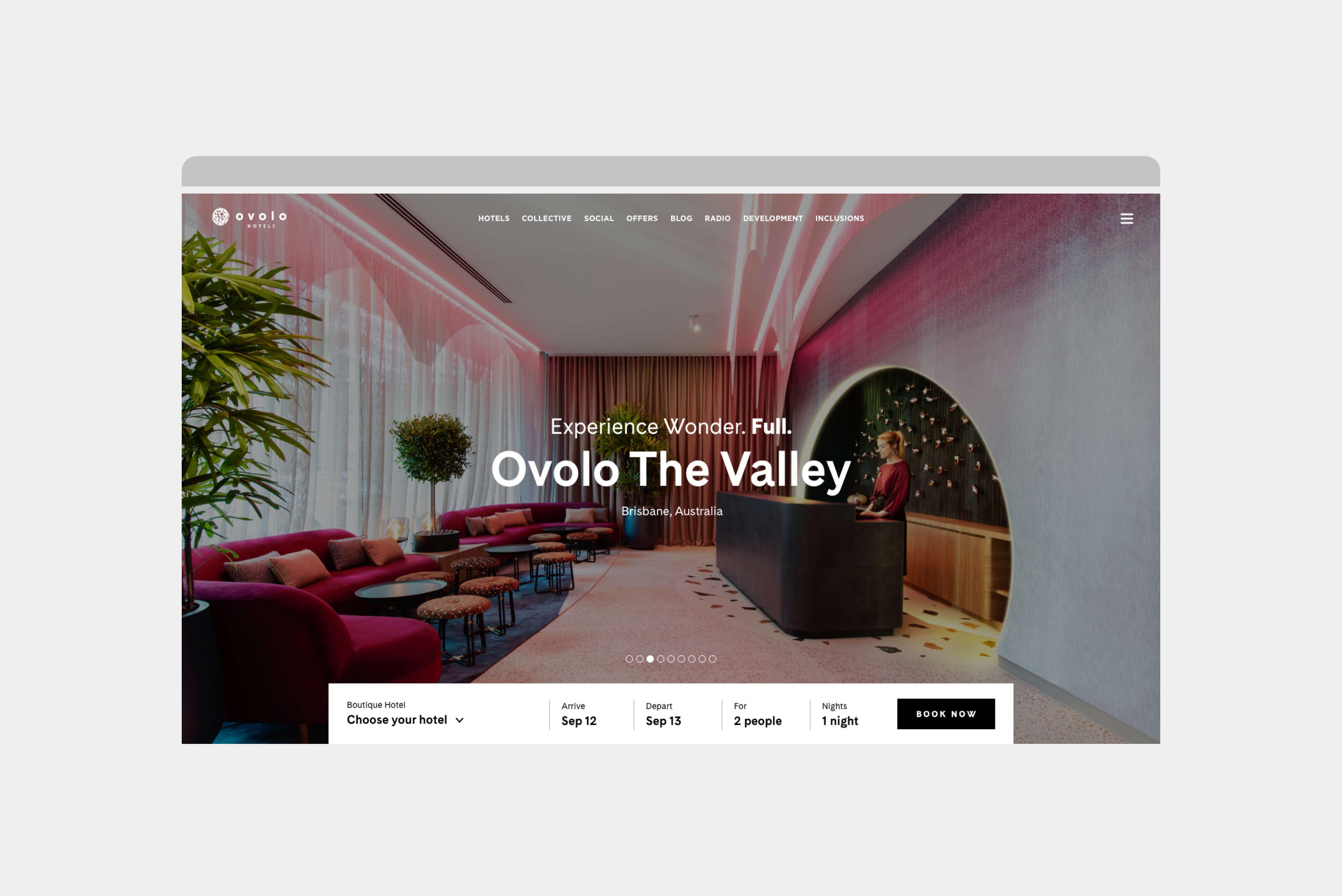 Ovolo Hotels Brand Refresh - Wonder. Full. Digital Design Intent Homapage Carousel 3