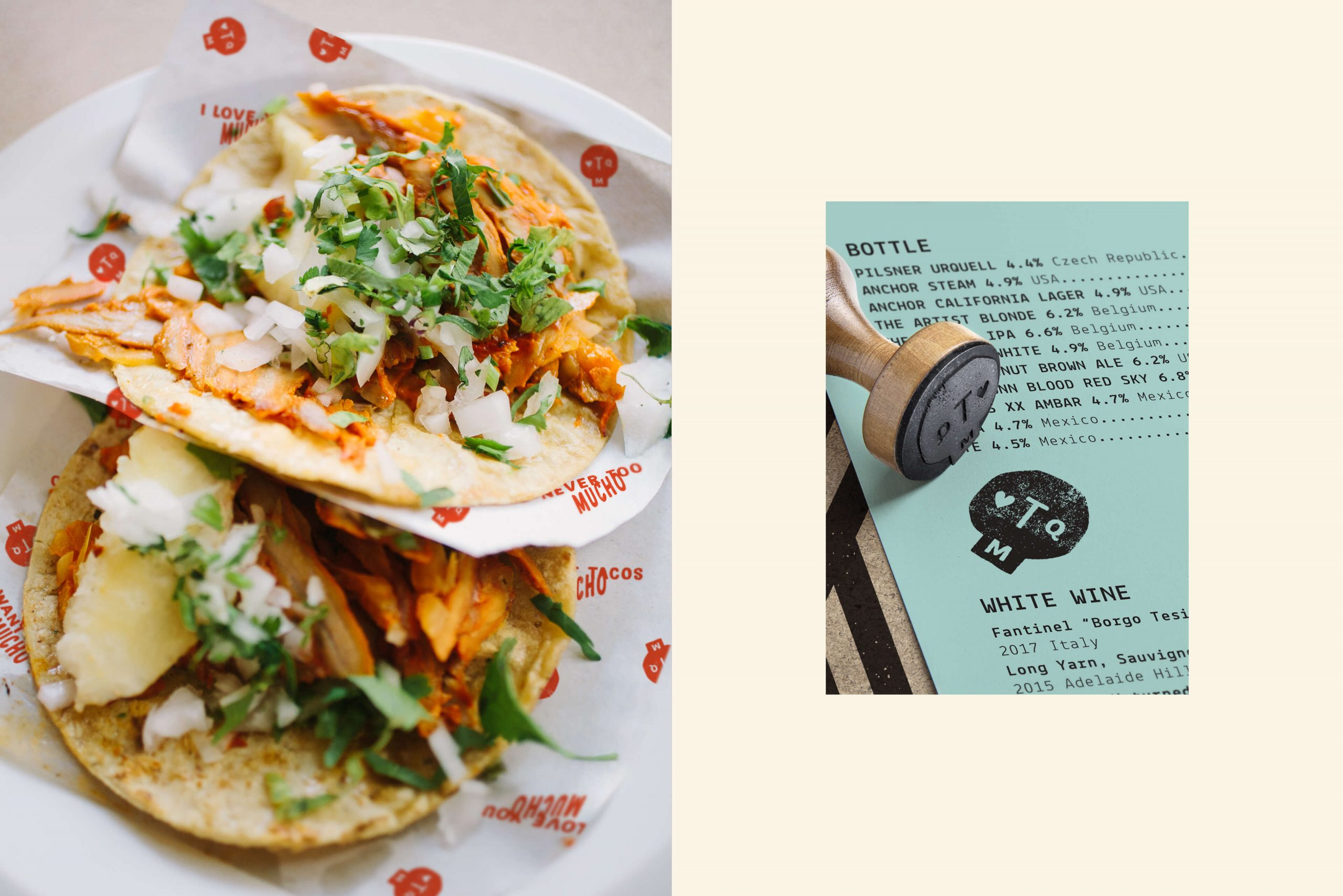 Ovolo Te Quiero Mucho Hospitality Identity - Taco photograph with branded rubber stamp