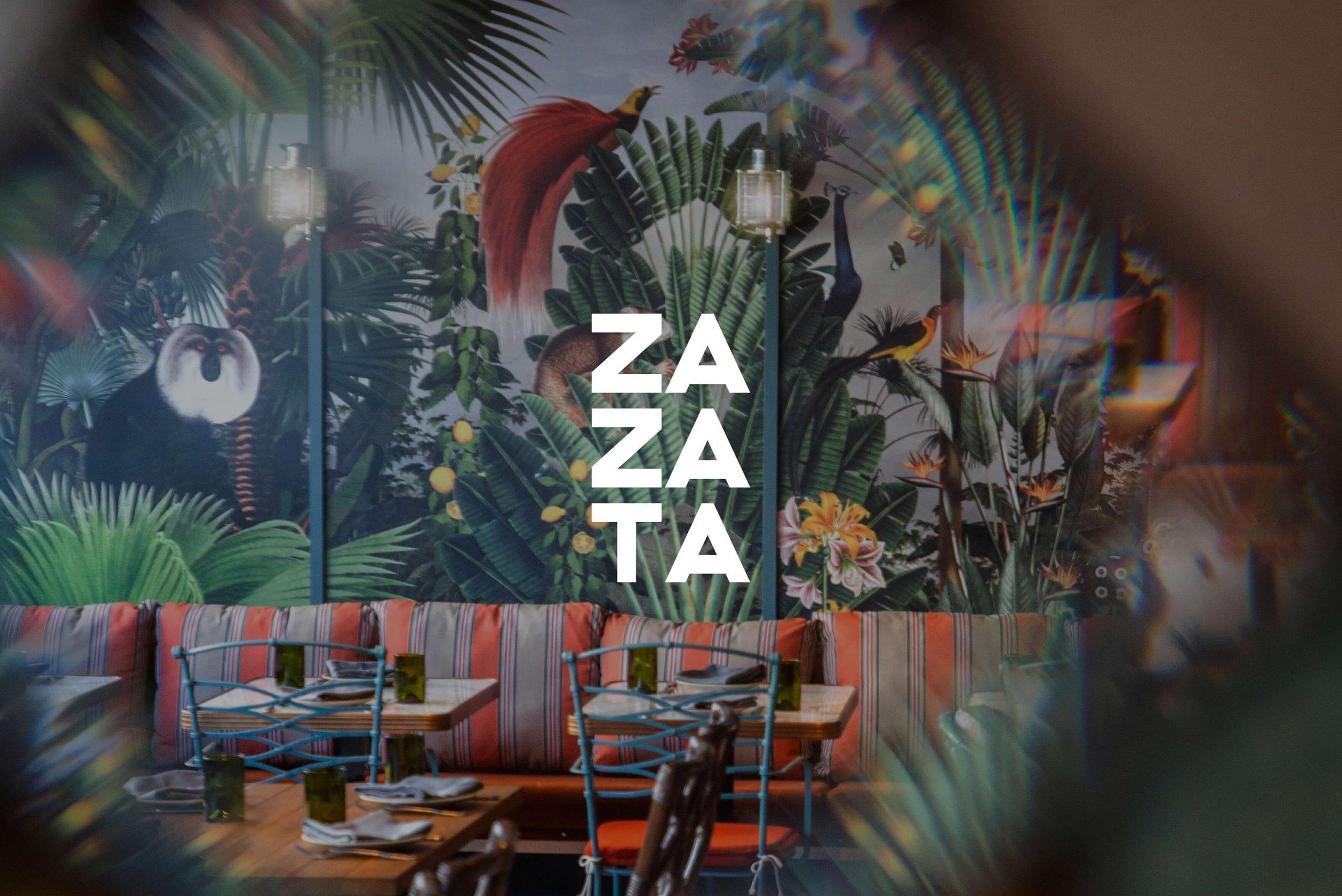 Ovolo Za Za Ta Hospitality Visual Identity - logotype on photographic background