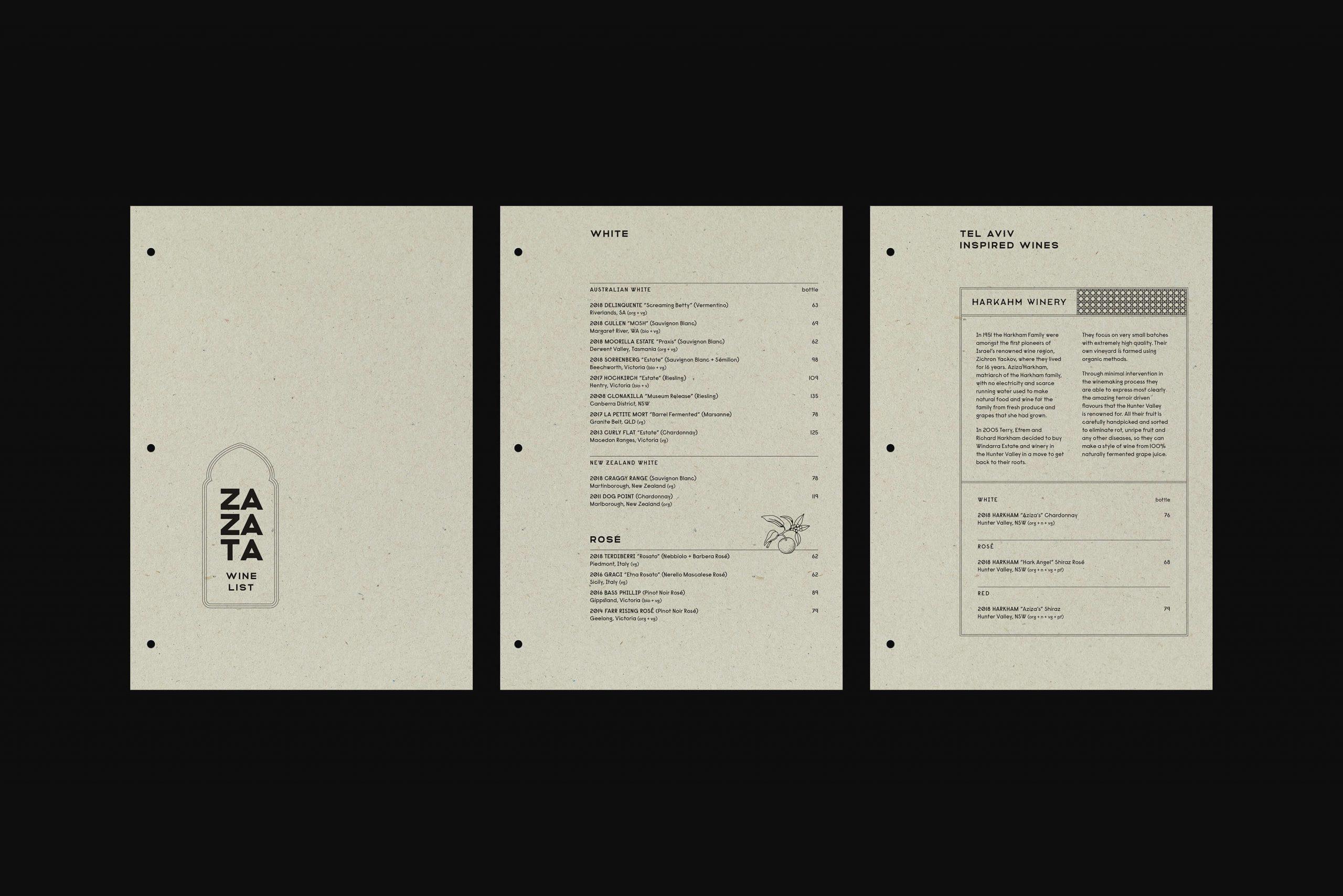 Ovolo Za Za Ta Hospitality Visual Identity - Menu design flat lays