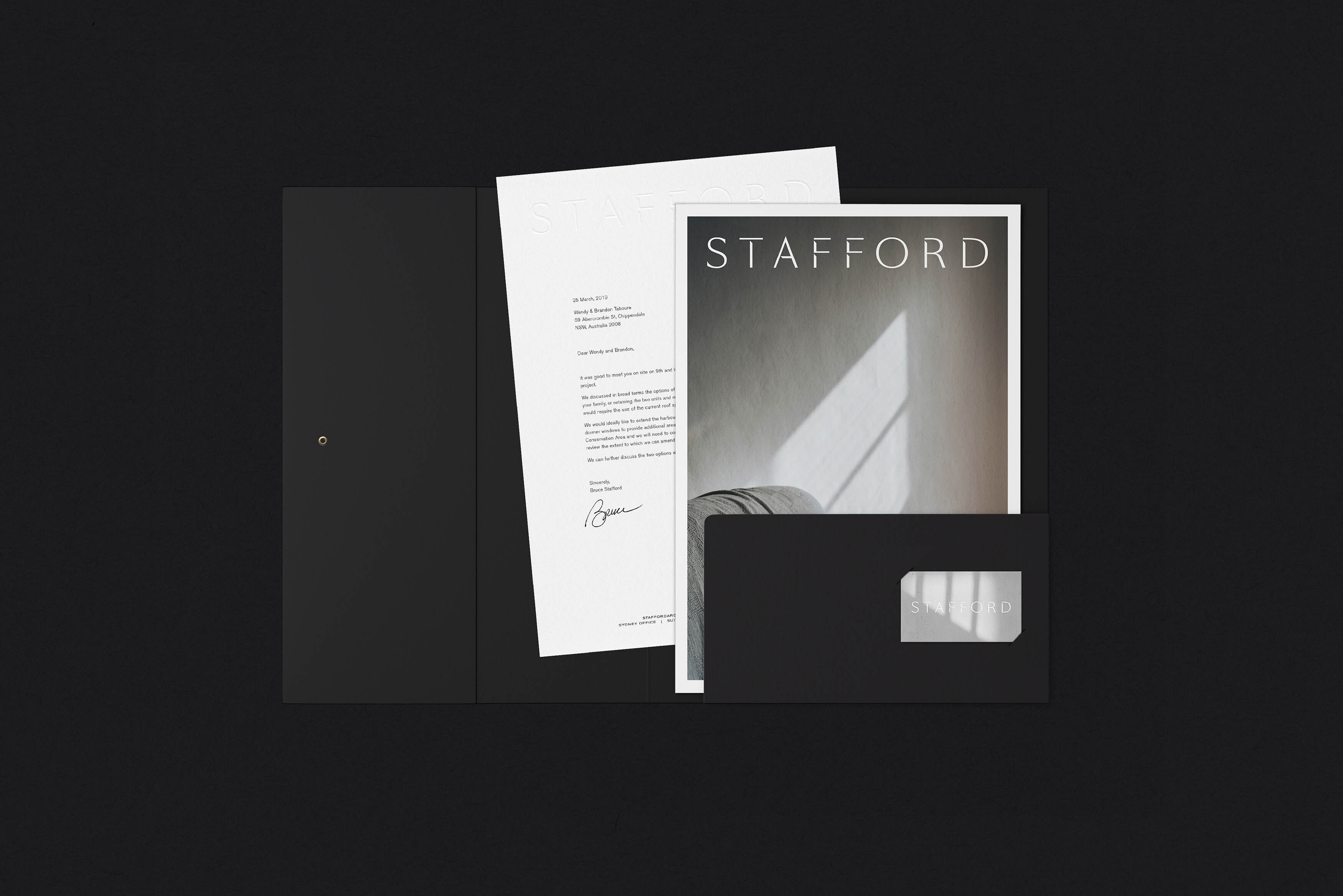 Stafford Architecture - Capabilites Statement folder with business card