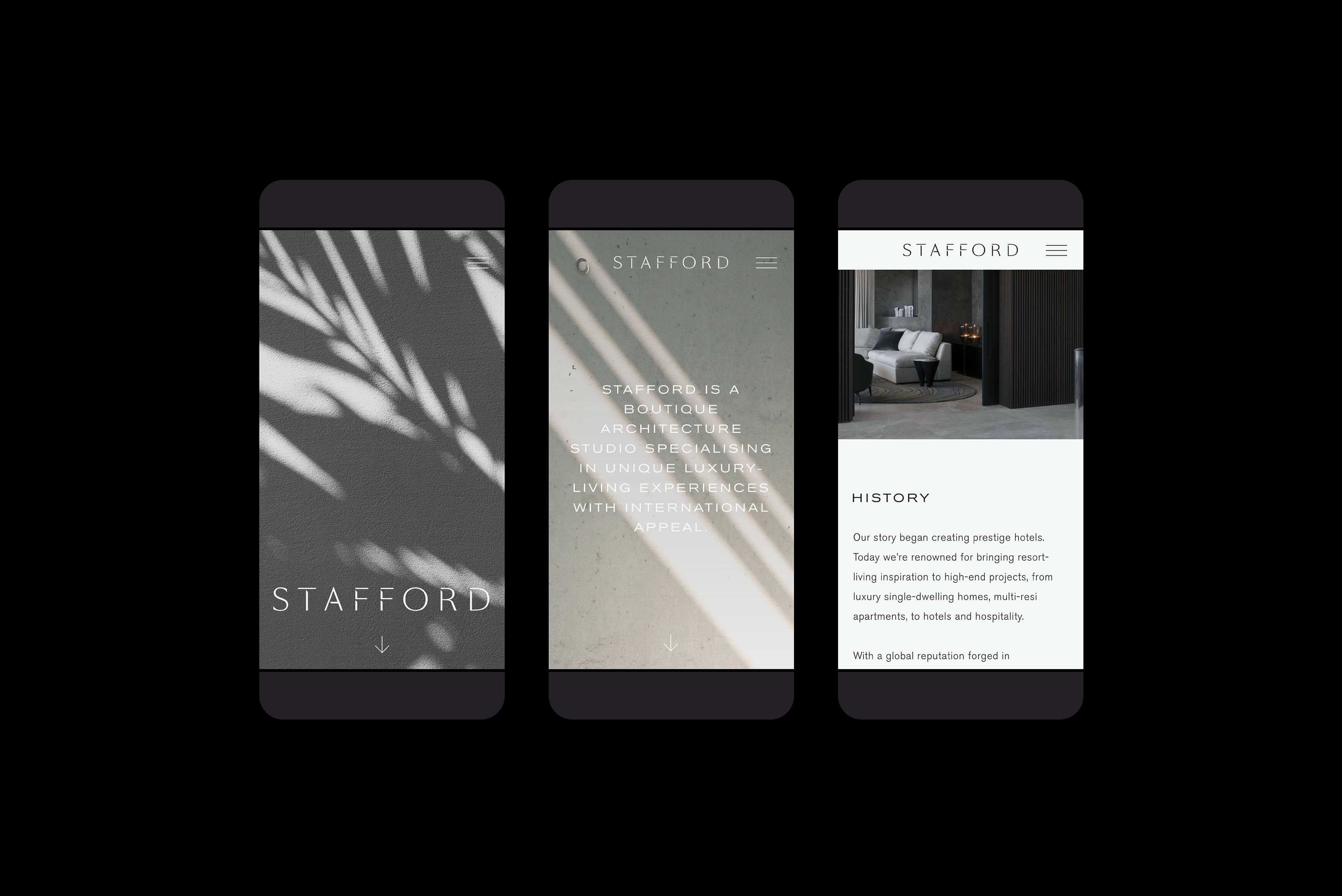 Stafford Architecture - Digital experience, website visual on smartphone